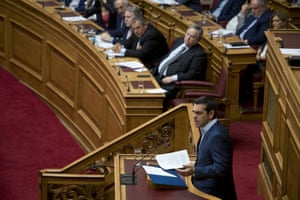 Greek Prime Minister Alexis Tsipras speaking in parliament today.