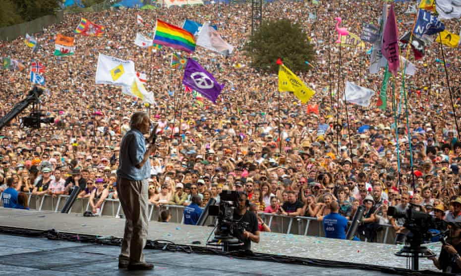 David Attenborough on the Pyramid stage at Glastonbury in June.