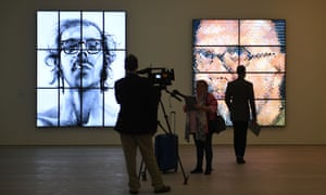 Journalists and guests attend a press view at the Saatchi gallery for the From Selfie to Self-Expression exhibition