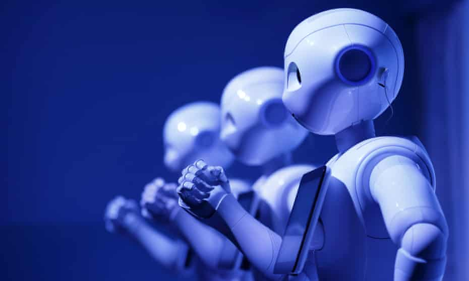 A row of Pepper robots developed by SoftBank Group Corp.