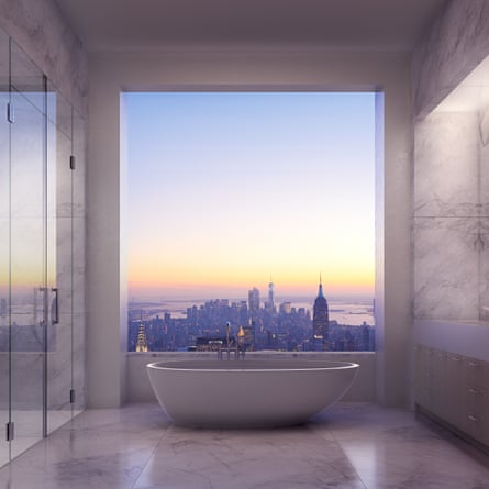 Room with a view … Manhattan skyline, as seen from a bathroom at 432 Park Avenue.