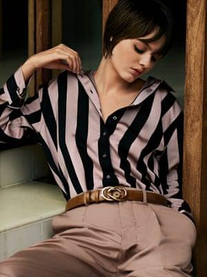 Satin twill shirt, £385, Marques' Almeida, net-a-porter.com. Trousers, £295, joseph-fashion.com. Belt, £100, elliotrhodes.com