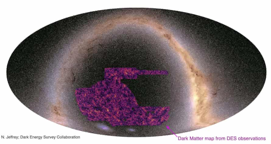 Largest ever map of dark matter - black with purple patches