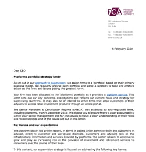 """A portion of the FCA's """"Dear CEO"""" letter to investment platform bosses."""
