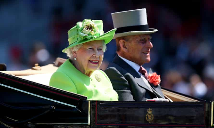 Queen Elizabeth and Prince Philip at Ascot racecourse on 20 June 2017.
