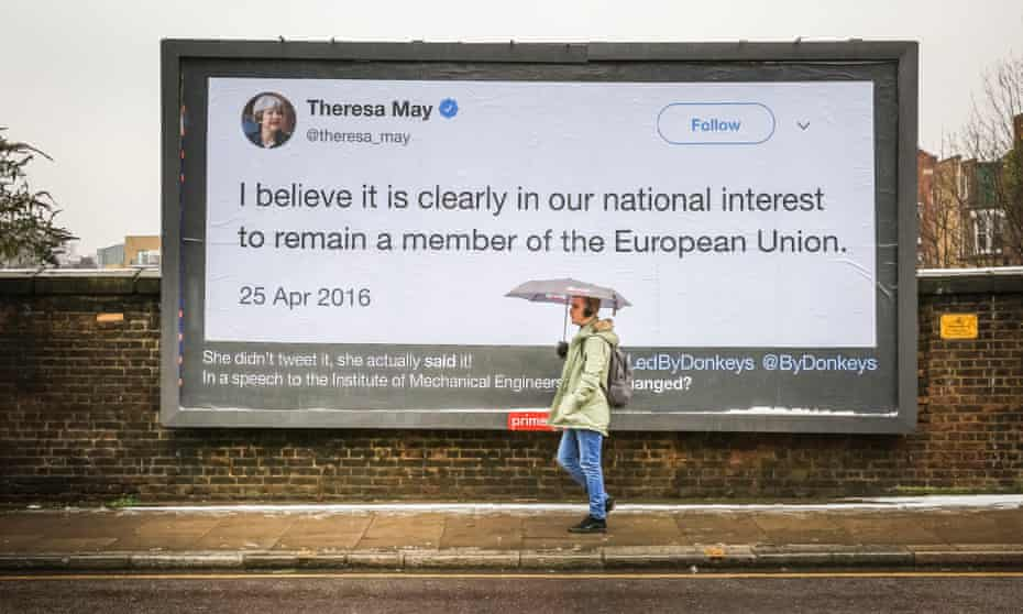 A quote by Theresa May on a billboard in Highbury, north London.