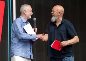 Jeremy Corbyn and Michael Eavis on the Pyramid Stage.