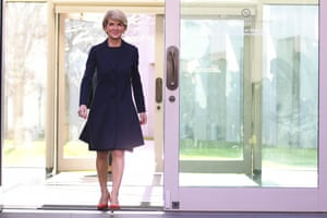 Julie Bishop arrives for a press conference on 27 August to announce she will sit on the backbench as the member for Curtin, despite speculation she could immediately leave parliament after losing the leadership spill.