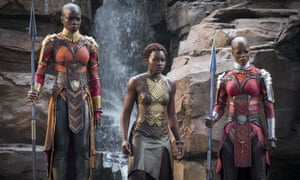 """Danai Gurira, Lupita Nyong'o and Florence Kasumba in a scene from """"Black Panther"""": the film features a number of powerful female leads"""