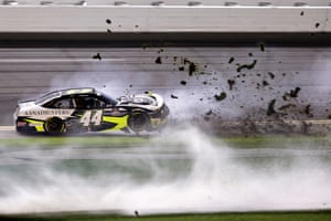 Daytona Beach, USTommy Joe Martins, driver of the #44 AAN Adjusters Chevrolet, spins into the grass during the NASCAR Xfinity Series Beef. It's What's For Dinner. 300 at Daytona International Speedway in Florida