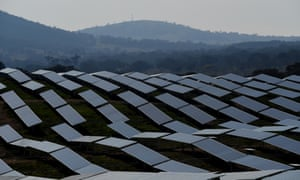 Solar panels are seen at the Williamdale Solar farm outside Canberra
