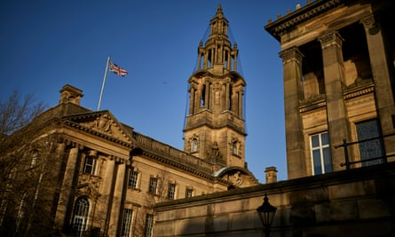The town hall, left, and Harris Museum and Art Gallery in Preston, Lancashire.