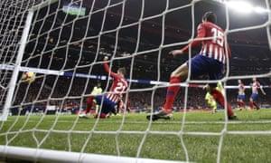 Barcelona's Ousmane Dembélé scores in the dying minutes.