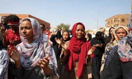 A protest against economic hardship in Khartoum, Sudan, 21 October 2020.