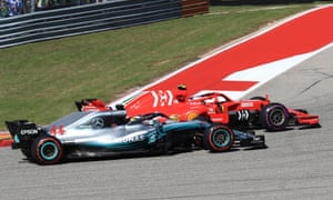 Lewis Hamilton is overtaken in the first corner of the US Grand Prix by Ferrari's Kimi Räikkönen.