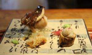 A Mushroom dish at Tempura Matsu, Kyoto
