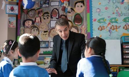 Ian Bennett talks to pupils at Downshall primary school