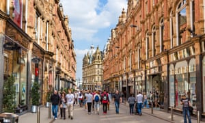 Shops on King Edward Street in the Victoria Quarter, Leeds. UK retail sales fell for the first time on an annual basis in October, despite stronger-than-expected growth over the month