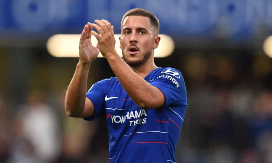 Eden Hazard salutes Chelsea's supporters following the 3-2 victory over Arsenal at Stamford Bridge on Saturday