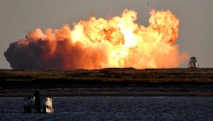 Boca Chica, Texas. SpaceX's first super heavy-lift Starship SN8 rocket explodes