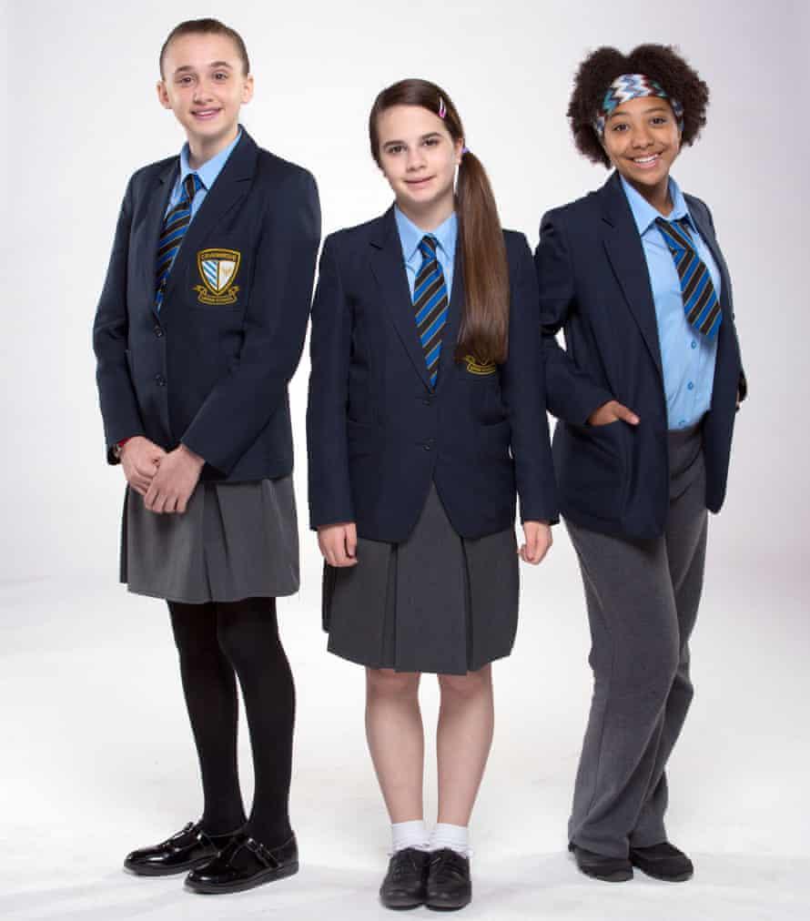 Martha Fitzgerald (Sophia Dall'aglio), Lily Hampton (Cleo Demetriou) and Jas Salford (Ameerah Falzon-Ojo) in So Awkward.