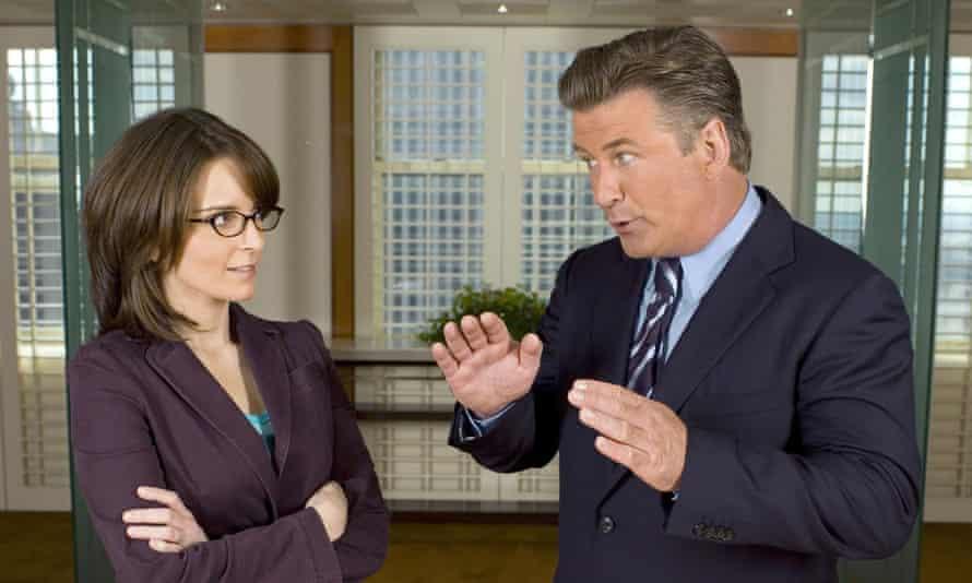 Liz Lemon (Tina Fey) and Jack Donaghy (Alec Baldwin) in 30 Rock negotiated the male-female dynamic at work.