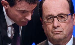 The French prime minister, Manuel Valls, speaks to President François Hollande.
