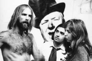 Thelma Schoonmaker with director Mike Wadleigh (left) and editor Martin Scorsese (centre) during the making of Woodstock in 1970.