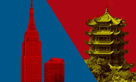New York's Empire State Building and Wuhan's Yellow Crane Tower