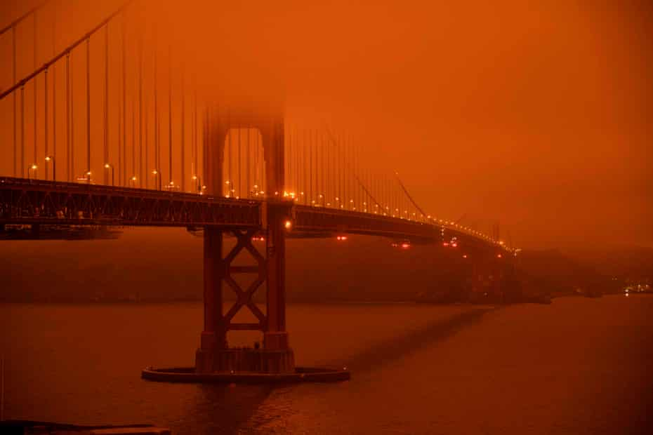 Fires across California resulted in an orange smoke-filled sky in the San Francisco Bay area in September.