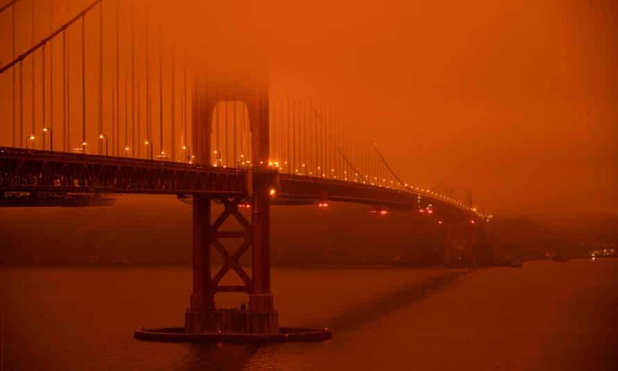 The Golden Gate Bridge, San Francisco, at midday on 9 September 2020.