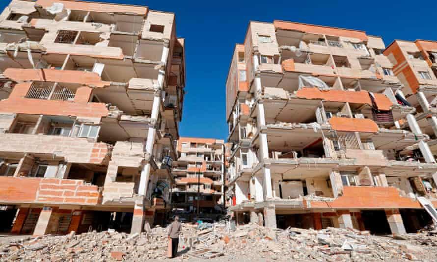 Buildings damaged by the earthquake in Sarpol-e Zahab, Kermanshah, Iran.