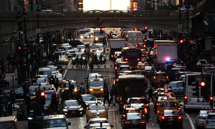 Traffic on 42nd Street in Manhattan.