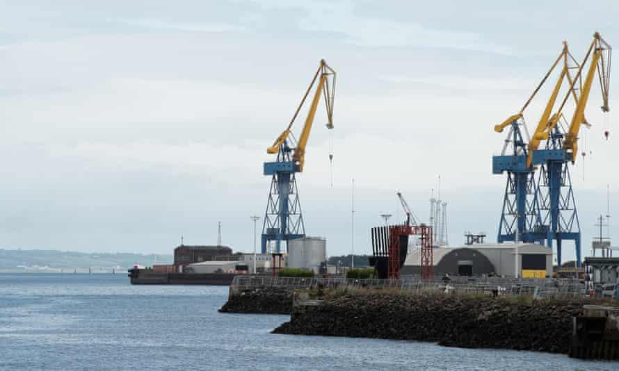 Cranes at the port of Belfast in Northern Ireland.