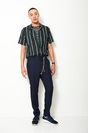 Model wears: Stripe shirt £155 and trousers £210, both Ami matchesfashion.com T-shirt £12 asos.com Watch £199 MMT matchesfashion.com Rope, stylist's own Trainers £120 camper.com