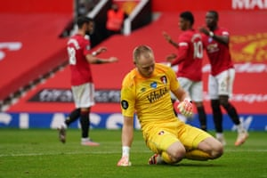 FBL-ENG-PR-MAN UTD-BOURNEMOUTHBournemouth's keeper Aaron Ramsdale reacts after Manchester United's Marcus Rashford goa.
