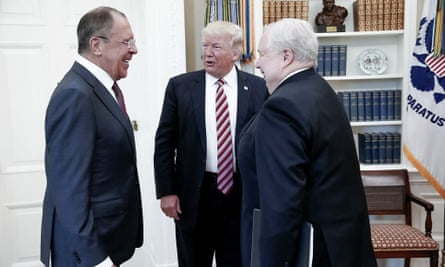 Trump's meeting with Russian foreign minister Sergey Lavrov (left) and Russian ambassador Sergey Kislyak.