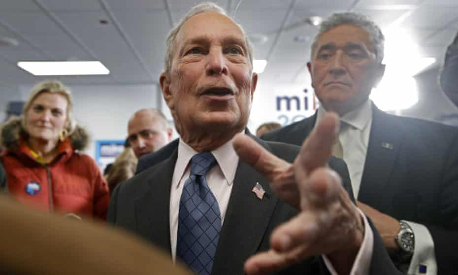 Mike Bloomberg greets supporters in Scarborough, Maine, on 27 January.