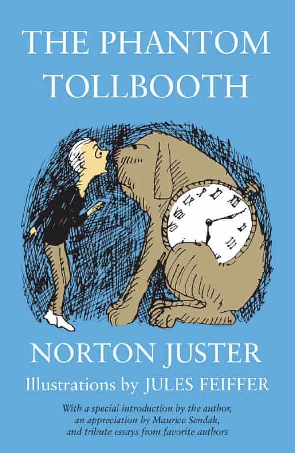 Jacket image from Norton Juster's The Phantom Tollbooth showing Milo face to face with Tock the dog on a blue background
