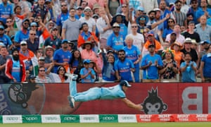 England's Chris Woakes makes a diving catch to dismiss India's Rishabh Pant at Edgbaston.