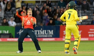 Katherine Brunt of England celebrates taking the wicket of Rachael Haynes of Australia.