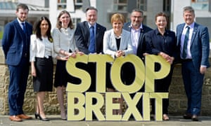 Nicola Sturgeon poses with the SNP's six candidates in the EU elections.