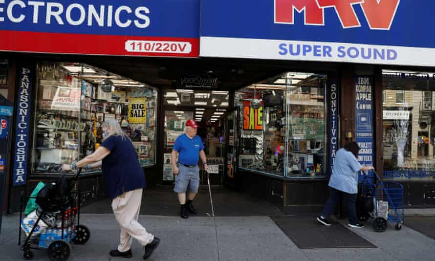Stores in New York have started to open as part of the city's 'phase one' reopening plan, which began on Monday.
