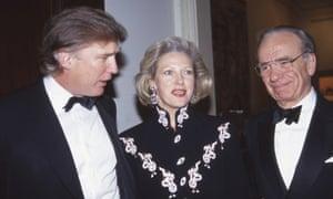 Donald Trump, Anna Murdoch and Rupert Murdoch.