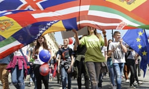 Young people march in celebration of the European in Warsaw: