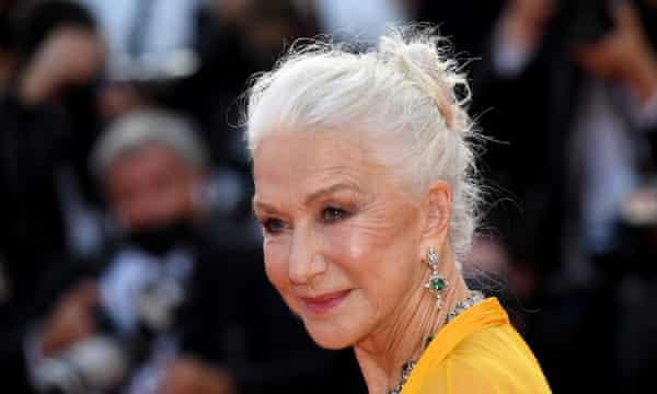 Helen Mirren at the Annette premiere, her hair in a chignon.