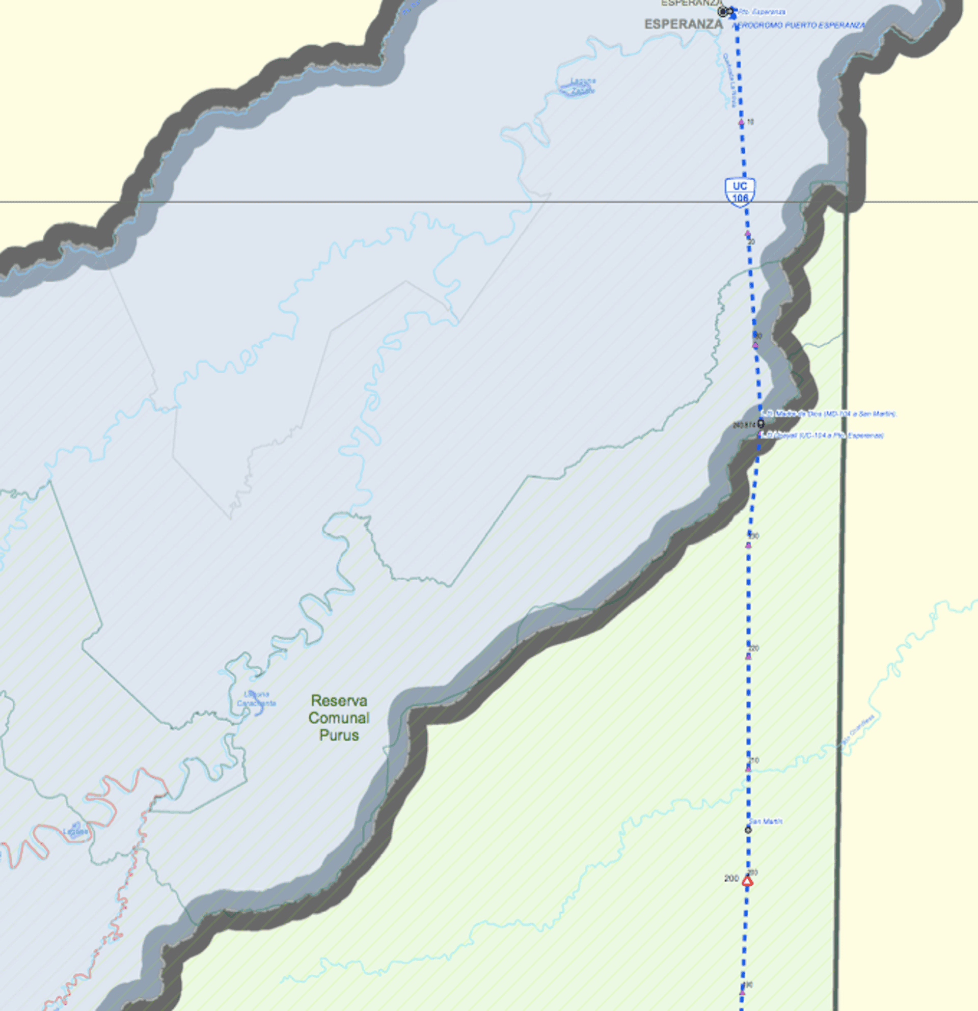 Detail from a Transport and Communications Ministry map showing the projected highway from Puerto Esperanza towards Iñapari. It would cross the Purus communal reserve and enter the Alto Purus national park (marked in green), before then entering the Madre de Dios reserve (not shown). Photograph: Peru's Transport and Communications Ministry