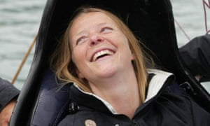 Hilary Lister pictured after completing her record-breaking round-Britain sail.
