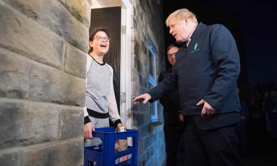 Boris Johnson delivers milk to Debbie Monaghan in Guiseley, Leeds, before the 2019 general election