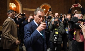 Nigel Farage at the Brexit party general election launch in Westminster, November 2019